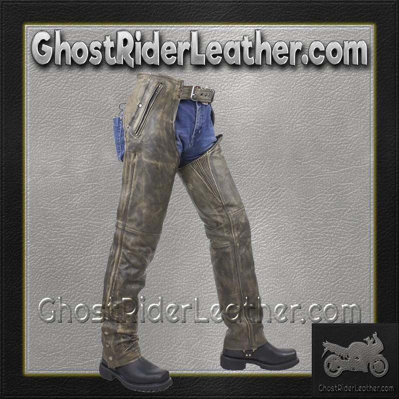 Mens Leather Chaps in Naked Distressed Brown Leather / SKU GRL-C334-12-DL - Ghost Rider Leather
