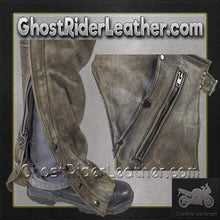 Mens Leather Chaps in Naked Distressed Brown Leather / SKU GRL-C334-12-DL-leather chaps-Ghost Rider Leather