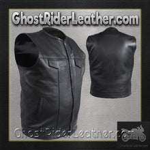 Mens Leather Motorcycle Club Vest with Short Collar / SKU GRL-MV8007-DL - Ghost Rider Leather
