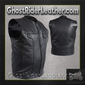 Mens Leather Motorcycle Club Vest with Short Collar / SKU GRL-MV8007-DL-mens leather vest-Ghost Rider Leather