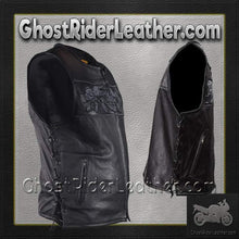 Mens Leather Vest with Night Reflective Skulls and Concealed Carry Pockets / SKU GRL-MV8025-DL - Ghost Rider Leather