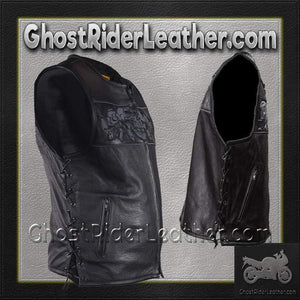 Mens Leather Vest with Night Reflective Skulls and Concealed Carry Pockets / SKU GRL-MV8025-DL-leather vest-Ghost Rider Leather