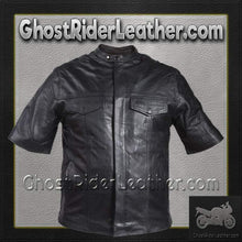 Mens Light Weight Leather Shirt with Short Sleeves / SKU GRL-MJ822-11L-DL-mens leather shirt-Ghost Rider Leather