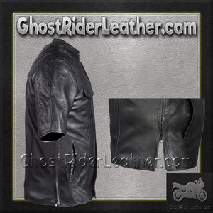 Mens Light Weight Leather Shirt with Short Sleeves / SKU GRL-MJ822-11L-DL - Ghost Rider Leather