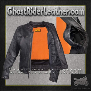 Mens Motorcycle Racer Jacket with Cool Diamond Pattern / SKU GRL-MJ821-DL - Ghost Rider Leather