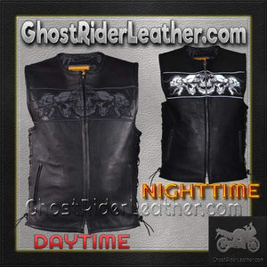 Mens Premium Leather Vest with Night Reflective Skulls and Concealed Carry Pockets / SKU GRL-MV8025-11-DL - Ghost Rider Leather