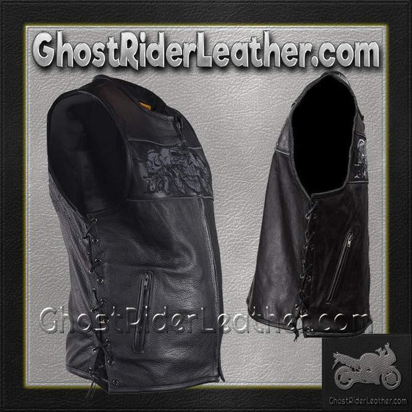 Mens Premium Leather Vest with Night Reflective Skulls and Concealed Carry Pockets / SKU GRL-MV8025-11-DL-leather vest-Ghost Rider Leather