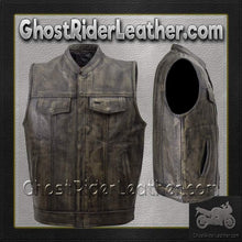 Mens SOA Style Motorcycle Club Vest in Distressed Brown / SKU GRL-MV320-ZIP-12-DL-leather vest-Ghost Rider Leather