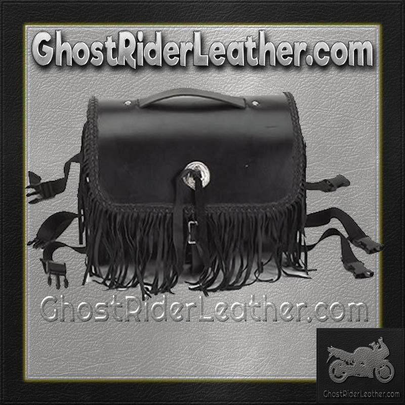 Motorcycle Leather Sissy Bar Bag with Studs and Fringe / SKU GRL-SB5008-LEATHER-DL - Ghost Rider Leather