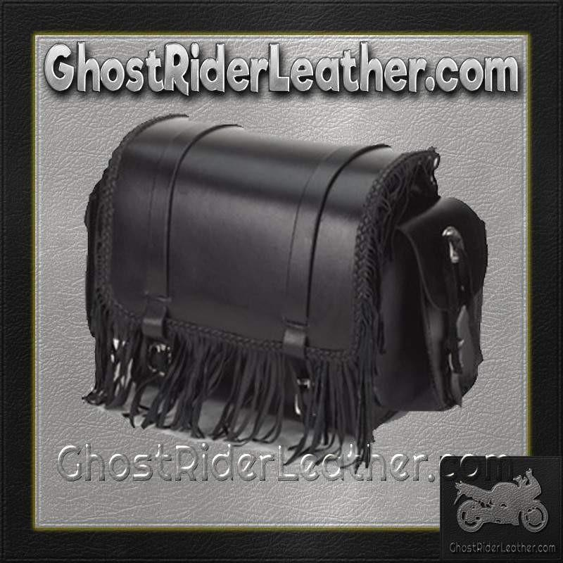 Motorcycle Sissy Bar Bag with Fringe and Braid / SKU GRL-SB73-DL-sissy bar bag-Ghost Rider Leather