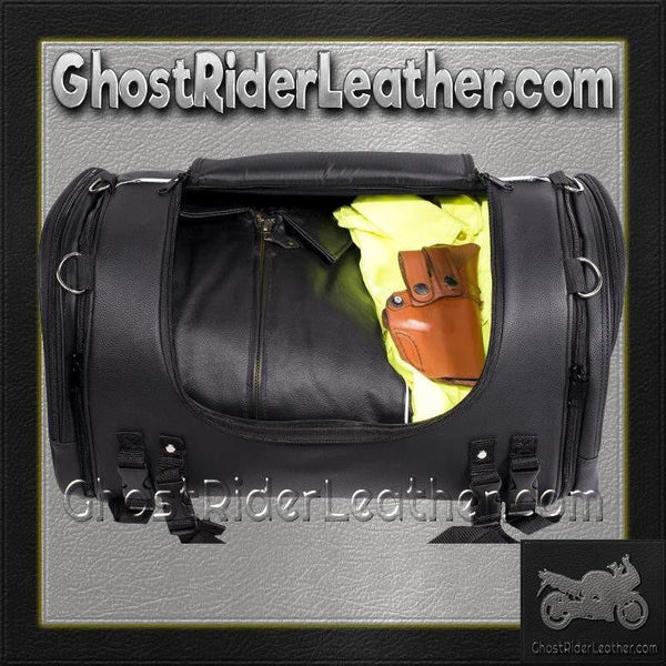Motorcycle Sissy Bar Bag with Reflective Skulls / SKU GRL-SB84-SKULL-MED-DL-sissy bar bag-Ghost Rider Leather