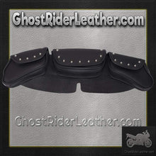 Motorcycle Windshield Bag Set with Studs and 3 Compartments / SKU GRL-WS23-DL-windshield bag-Ghost Rider Leather