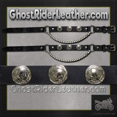 Pair of Biker Boot Chains - Buffalo Nickel - SKU GRL-BC2-DL-biker boot chains-Ghost Rider Leather