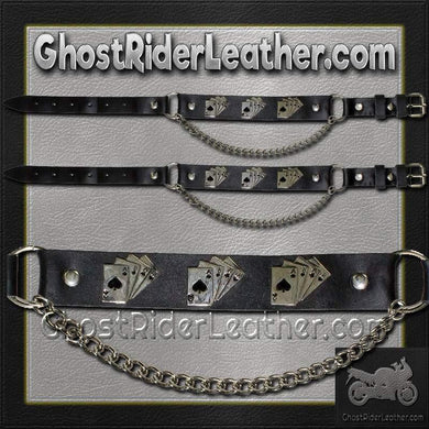Pair of Biker Boot Chains - Dead Mans Hand - SKU GRL-BC20-DL-biker boot chains-Ghost Rider Leather