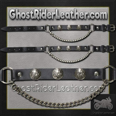 Pair of Biker Boot Chains - Indian Head - SKU GRL-BC4-DL - Ghost Rider Leather