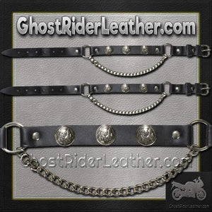 Pair of Biker Boot Chains - Indian Head - SKU GRL-BC4-DL-biker boot chains-Ghost Rider Leather