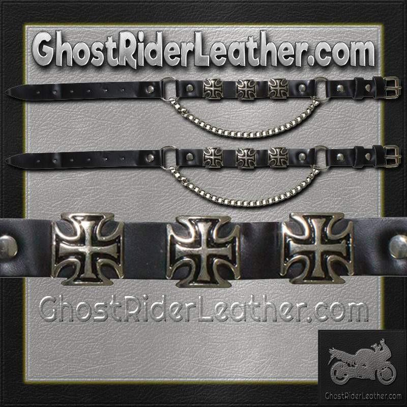 Pair of Biker Boot Chains - Iron Cross - SKU GRL-BC3-DL - Ghost Rider Leather