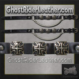 Pair of Biker Boot Chains - Iron Cross - SKU GRL-BC3-DL-biker boot chains-Ghost Rider Leather