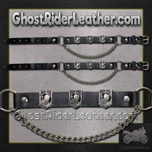 Pair of Biker Boot Chains - POW MIA - SKU GRL-BC11-DL - Ghost Rider Leather