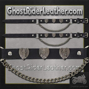 Pair of Biker Boot Chains - Praying Hands - Christian Biker - SKU GRL-BC8-DL - Ghost Rider Leather