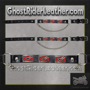 Pair of Biker Boot Chains - Rebel Flag - SKU GRL-BC5-DL - Ghost Rider Leather
