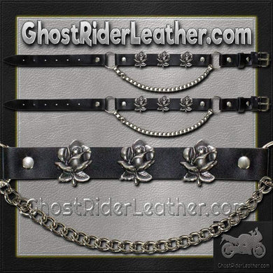 Pair of Biker Boot Chains - Rose - SKU GRL-BC7-DL - Ghost Rider Leather