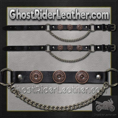 Pair of Biker Boot Chains - Shotgun Shell - SKU GRL-BC19-DL-biker boot chains-Ghost Rider Leather