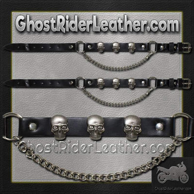 Pair of Biker Boot Chains - Skull - SKU GRL-BC10-DL-biker boot chains-Ghost Rider Leather
