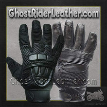 Premium Leather Motorcycle Gloves with Double Knuckle -SKU GRL-GLZ41-DL - Ghost Rider Leather