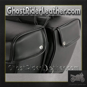 PVC Motorcycle Saddlebags Single Buckle Design / SKU GRL-SD1483-PV-DL-saddlebags-Ghost Rider Leather