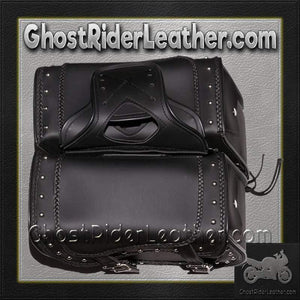 PVC Motorcycle Saddlebags With Braid and Studs / SKU GRL-SD1485-PV-DL-saddlebags-Ghost Rider Leather