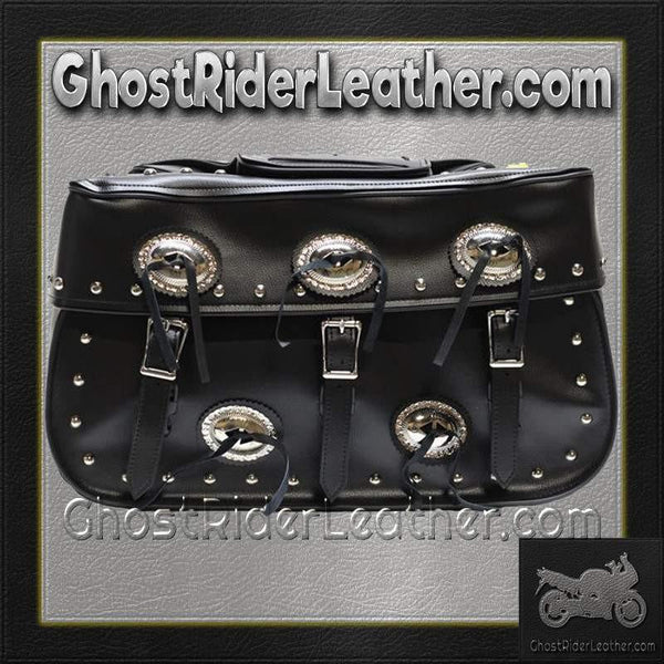 PVC Motorcycle Saddlebags With Conchos and Studs / SKU GRL-SD4000-PV-DL-saddlebags-Ghost Rider Leather