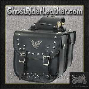 PVC Motorcycle Saddlebags With Eagle and Studs / SKU GRL-SD4070-PV-DL - Ghost Rider Leather