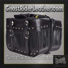 PVC Motorcycle Saddlebags With Fringe and Studs / SKU GRL-SD4030-PV-DL - Ghost Rider Leather