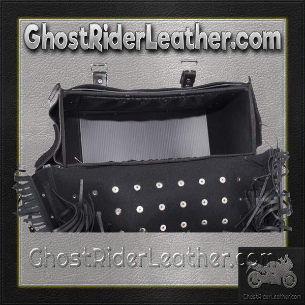 PVC Motorcycle Saddlebags With Fringe and Studs / SKU GRL-SD4030-PV-DL-saddlebags-Ghost Rider Leather