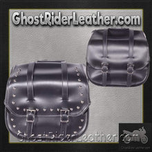 PVC Motorcycle Saddlebags with or without Studs / SKU GRL-SD4080-DL-saddlebags-Ghost Rider Leather