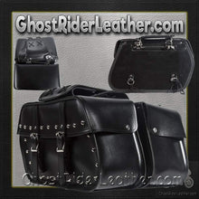 PVC Motorcycle Saddlebags With Studs / SKU GRL-SD4079-STUD-PV-DL - Ghost Rider Leather