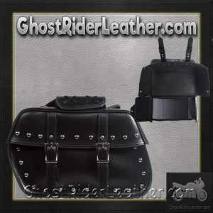 PVC Motorcycle Saddlebags With Studs / SKU GRL-SD4079-STUD-PV-DL-saddlebags-Ghost Rider Leather