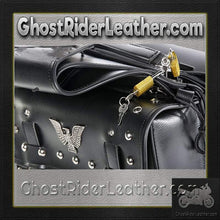 PVC Motorcycle Saddlebags With Studs and Eagle / SKU GRL-SD4071-PV-DL - Ghost Rider Leather
