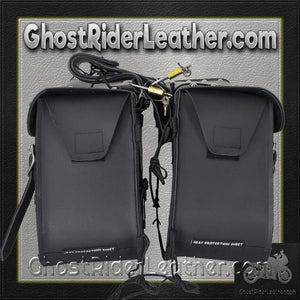 PVC Motorcycle Saddlebags With Studs and Gun Pockets / SKU GRL-SD4090-PV-DL - Ghost Rider Leather