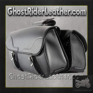 PVC Motorcycle Slanted Saddlebags / SKU GRL-SD4089-NS-PV-DL - Ghost Rider Leather