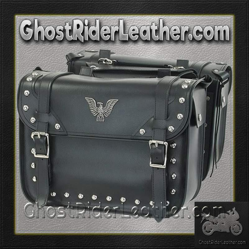 PVC Motorcycle Studded Saddlebags with Eagle / SKU GRL-SD4076-PV-DL - Ghost Rider Leather