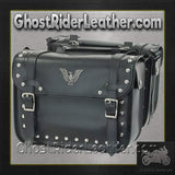 PVC Motorcycle Studded Saddlebags with Eagle / SKU GRL-SD4076-PV-DL-saddlebags-Ghost Rider Leather