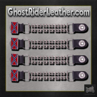 Set of Four Rebel Flag Vest Extenders with Bike Chain Design / SKU GRL-AC1057-BC-DL-vest extender-Ghost Rider Leather