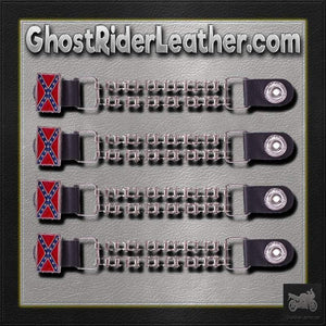 Set of Four Rebel Flag Vest Extenders with Bike Chain Design - SKU GRL-AC1057-BC-DL - Ghost Rider Leather