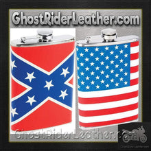 Set of Two Flasks / American Flag and Rebel Flag Flasks / SKU GRL-KTFLKFLG-KTFLKRBL-BN-flask-Ghost Rider Leather