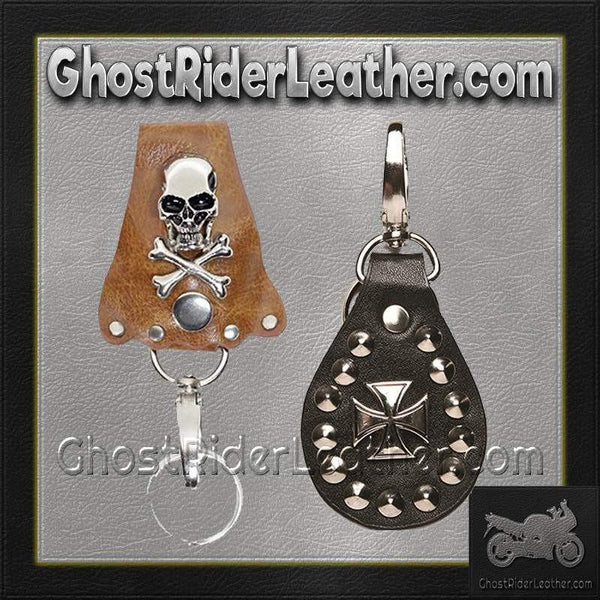 Set of Two Leather Key Chain Fobs / SKU GRL-AC82-AC88-DL-motorcycle key fob-Ghost Rider Leather