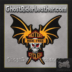 Skull Wings Ride Free Motorcycles Vest Patch / SKU GRL-PAT-A38-DL-biker patch-Ghost Rider Leather