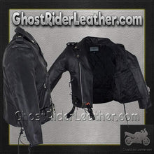 Teens Leather Motorcycle Biker Jacket with Side Laces / SKU GRL-KD344-TEEN-DL-teens leather jacket-Ghost Rider Leather