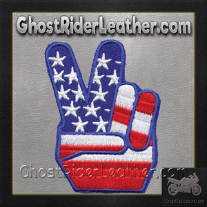 USA Flag Peace Sign Vest Patch - You Get TWO Patches / SKU GRL-PAT-D489-DL - Ghost Rider Leather